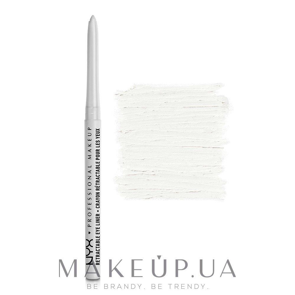 Автоматический водостойкий карандаш для глаз - NYX Professional Makeup Retractable Eye Liner — фото 01 - White