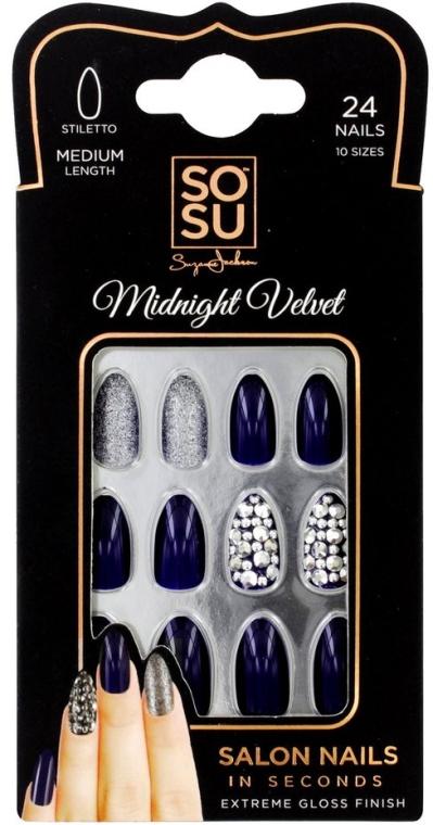 Набор накладных ногтей - Sosu by SJ False Nails Medium Stiletto Midnight Velvet