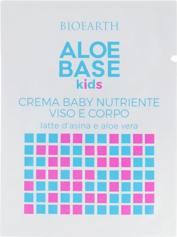 Увлажняющий крем для лица и тела для младенцев - Bioearth Aloebase Kids Nourishing Baby Cream Face and Body with Aloe (пробник)
