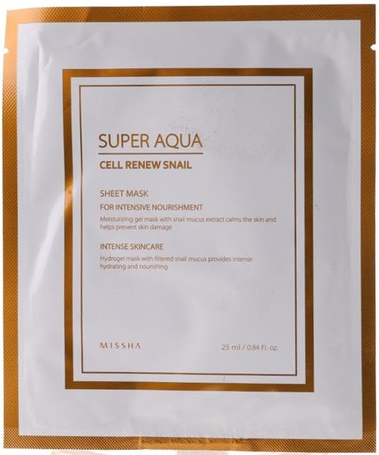 Гидрогелевая маска с муцином улитки - Missha Super Aqua Cell Renew Snail Hydro Gel Mask