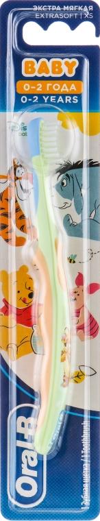 Детская зубная щетка 0-2 лет, экстра мягкая, оранжево-салатовая - Oral-B Baby Extrasoft Toothbrush