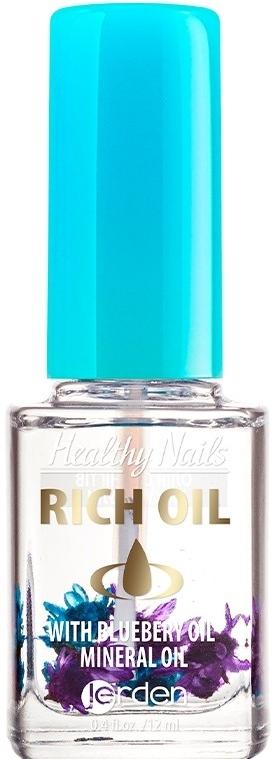 """Масло для кутикулы и ногтей с сухоцветами """"Черника"""" № 170 - Jerden Healthy Nails Rich Oil"""