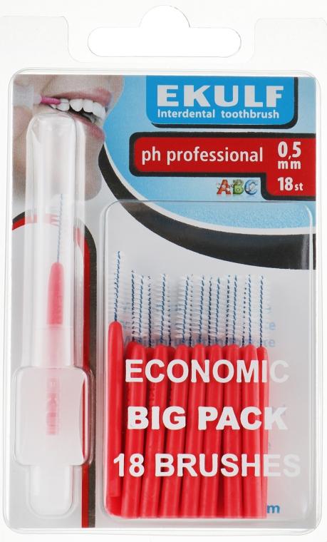Щетки для межзубных промежутков, 0.5 мм, красные - Ekulf Ph Professional