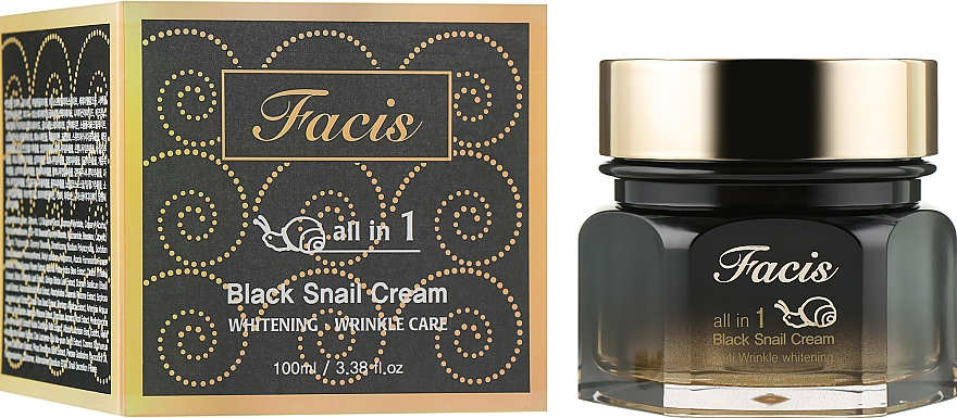 Восстанавливающий крем-эссенция с муцином черной улитки - Facis All-In-One Black Snail Cream