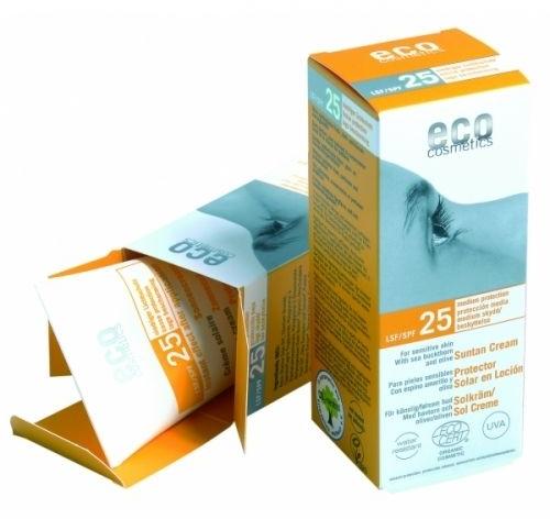 Солнцезащитный крем с экстрактом облепихи и листья оливкового дерева - Eco Cosmetics Sun Cream SPF 25