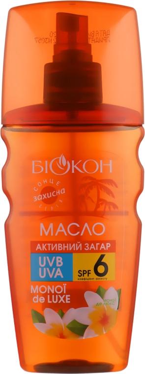 "Масло для тела ""Активный загар. Масло монои"" SPF 6 - Биокон"