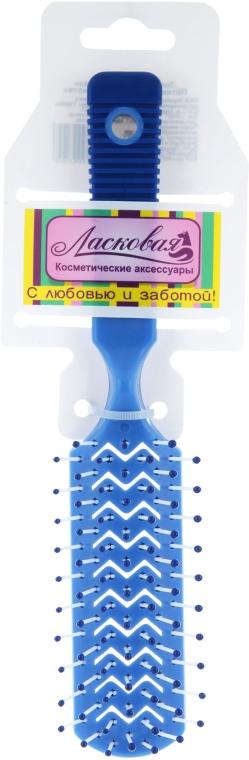 Расческа для ежедневного ухода с прорезями, синяя - Ласковая