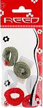 Духи, Парфюмерия, косметика Набор резинок для волос, 7576, 6шт, темно-зеленый + белый + красный - Reed