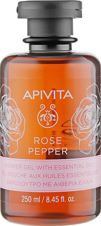 """Гель для душа с эфирными маслами """"Роза и перец"""" - Apivita Shower Gel Rose & Black Pepper"""