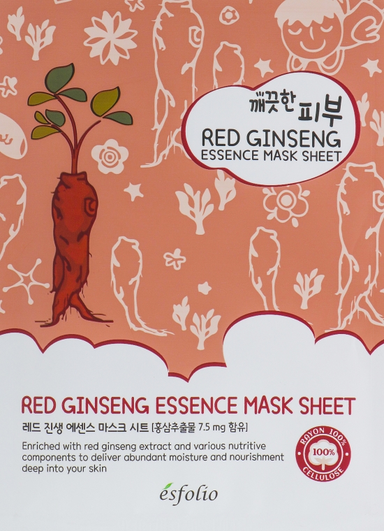 Тканевая маска c красным женьшенем - Esfolio Pure Skin Red Ginseng Essence Mask Sheet