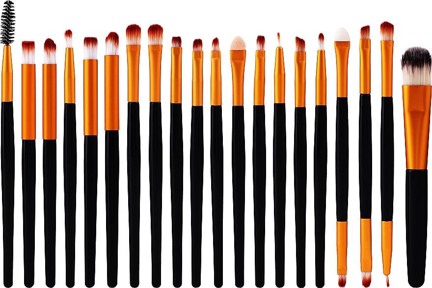 Набор профессиональных кистей для макияжа, 20 шт, черно-золотой - Lewer