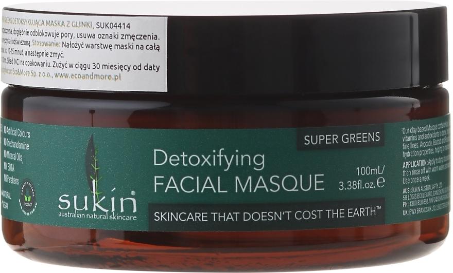 Глиняная детокс-маска для лица - Sukin Super Greens Detoxifying Clay Masque