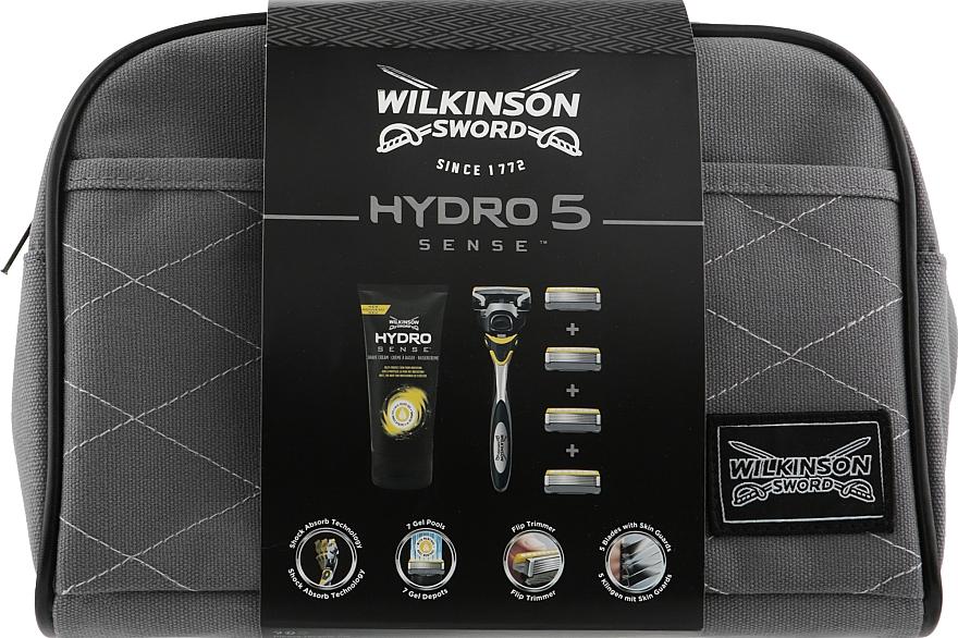 Набор - Wilkinson Sword Hydro 5 Sense (shaver/1pc + blades/4pcs + shv/cr/75ml + bag)