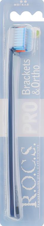 Зубная щетка, мягкая, синяя с голубым - R.O.C.S. Pro Brackets & Ortho