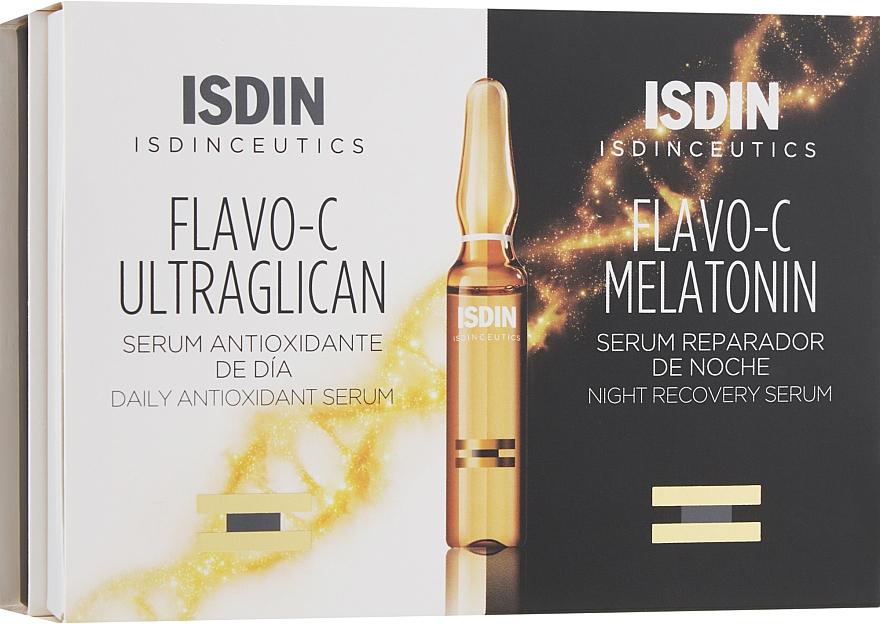 Набор - Isdin Isdinceutics Flavo-C Pack 10 Ultraglican 10 Melatonin Ampoules(ser/10x2ml+ser/10x2ml)