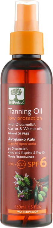 Солнцезащитное масло для загара - Bioselect Tanning Oil Low Protection SPF6