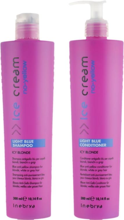 Набор для осветленных и седых волос - Inebrya No-Yellow Light Blue Set (shm/300ml + con/300ml) — фото N2