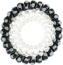 Духи, Парфюмерия, косметика Резинки для волос, 414562, черная в голубой горох + прозрачная - Glamour