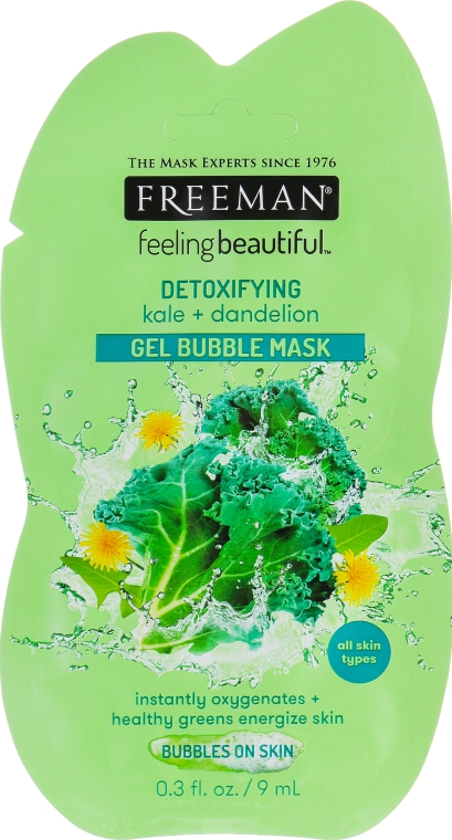 Маска гель-пена для лица «Капуста Кале и одуванчик» - Freeman Facial Detoxifying Gel Bubble Mask