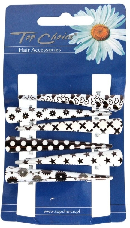 Заколки для волос, 25020, черно-белые - Top Choice