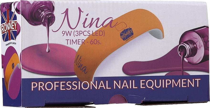 Светодиодная УФ лампа для ногтей, белый - Ronney Professional Nina 9W (GY-LED-018)