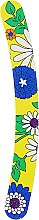Духи, Парфюмерия, косметика Пилочка для ногтей затененная 2-функциональная изогнутая, 74776, желтая с цветами - Top Choice