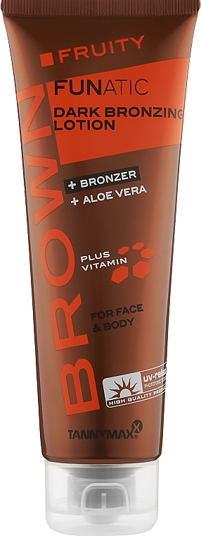 Лосьон для загара в солярии с темными бронзантами, меланином и алое вера - Tannymaxx Brown Fruity Funatic Dark Bronzing Lotion For Face & Body