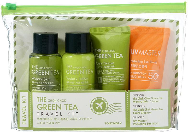 Набор - Tony Moly The Chok Chok Green Tea Travel Kit (toner/65ml + lot/65ml + foam/30ml + f/cr/30ml + bag)