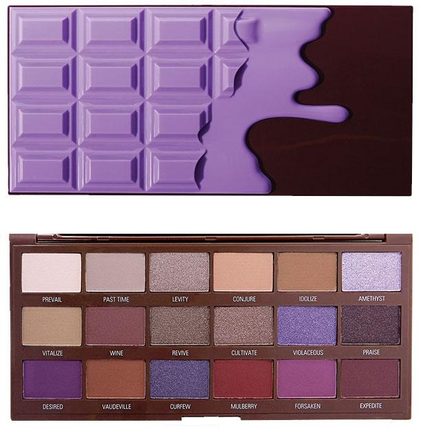 Палетка теней для век, 18 оттенков - I Heart Revolution Eyeshadow Palette Violet Chocolate