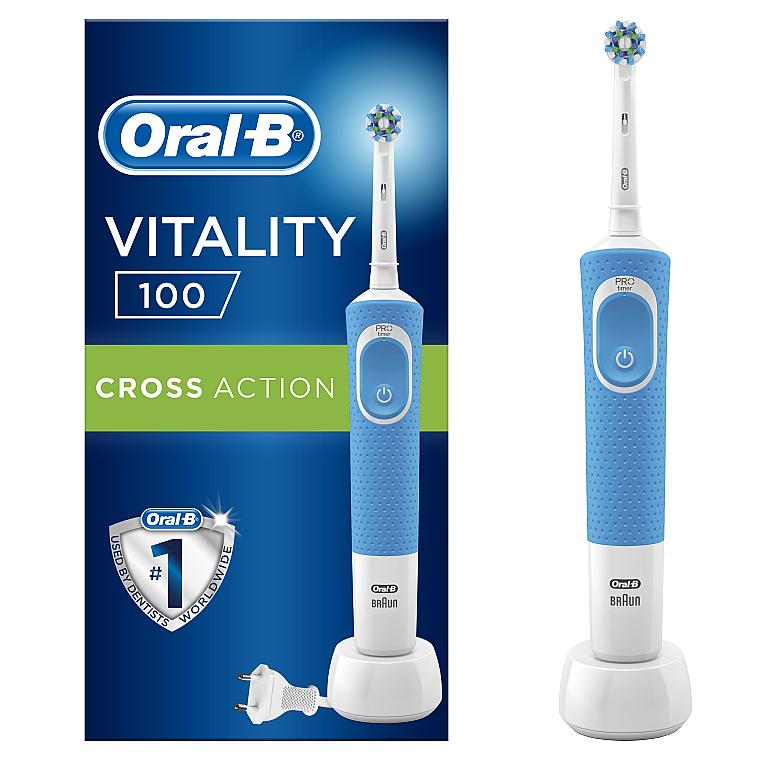 Электрическая зубная щетка, синяя - Oral-B Vitality 100 D100.413.1 PRO CrossAction