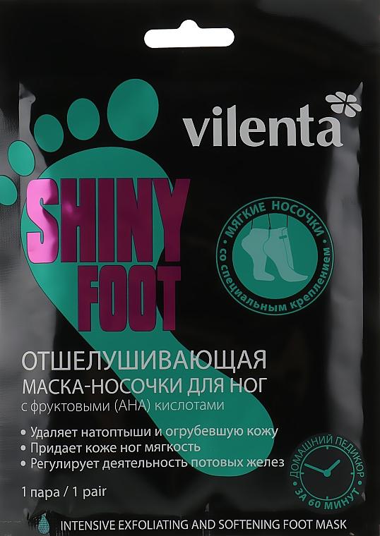 Отшелушивающая маска-носочки для ног с фруктовыми (АНА) кислотами - Vilenta Shiny Foot Intensive Exfoliating And Softening Foot Mask
