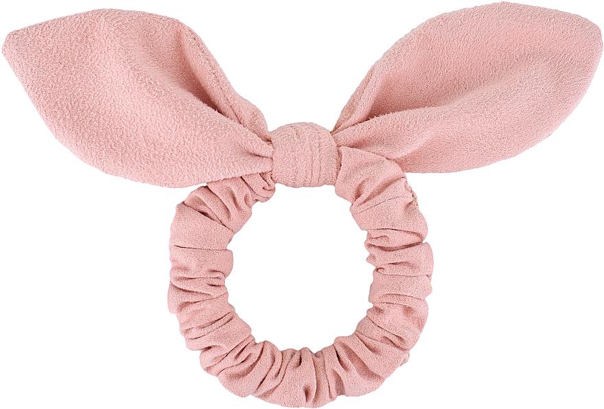 """Резинка для волос замшевая с ушками, пудровая """"Bunny"""" - Makeup Bunny Ear Soft Suede Hair Tie Powder"""