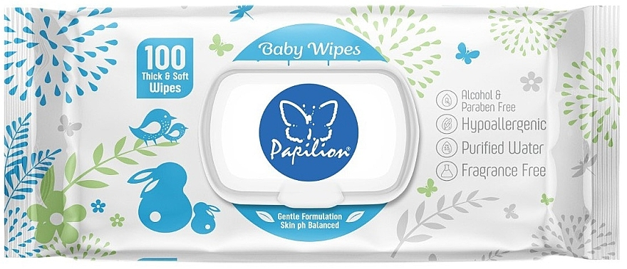 Детские влажные салфетки с пластиковой крышкой Pure 100 шт. - Papilion