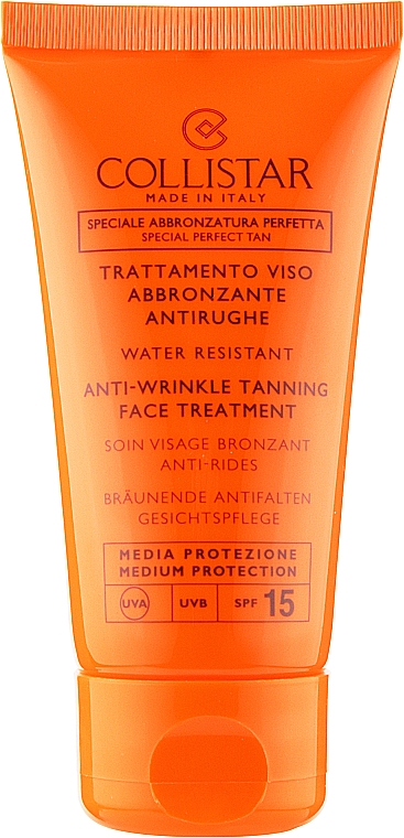 Лікувальний сонцезахисний крем від зморшок з захистом днк клітин - Collistar Speciale Abbronztura Perfetta Anti-Wrinkle Tanning Face Treatment SPF15 — фото N1