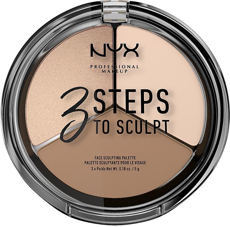 Палетка корректирующих средств - NYX Professional Makeup 3 Steps To Sculpting Palette