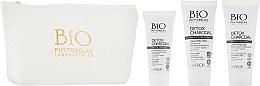 Набор - Phytorelax Laboratories Bio Detox Charcoal (f/gel/40ml + f/milk/40ml + mask/20ml + bag) — фото N2