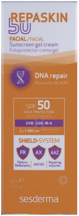 Сонцезахисний крем-гель SPF 50+ - SesDerma Repaskin Sunscreen Gel-Cream SPF 50+ — фото N2
