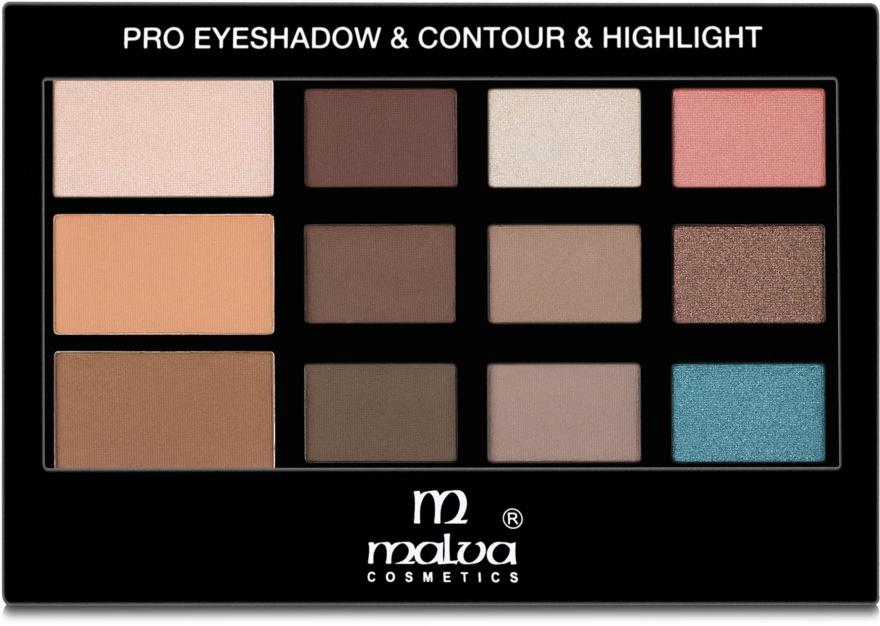 Палетка для макияжа - Malva Cosmetics Pro Eyeshadow & Contour & Highlight