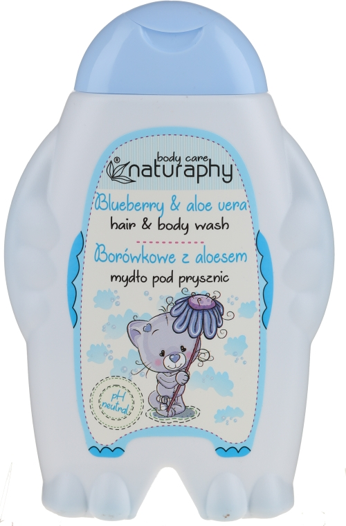 """Детский шампунь-гель для душа """"Черника и алоэ вера"""" - Bluxcosmetics Naturaphy Hair & Body Wash"""