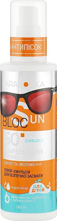Спрей-эмульсия для безопасного загара для детей SPF 50 - Velta Cosmetic Parasol'ka Sun Spray