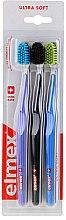 Духи, Парфюмерия, косметика Зубные щетки, ультра мягкие, фиолетовая+черная+синяя - Elmex Swiss Made