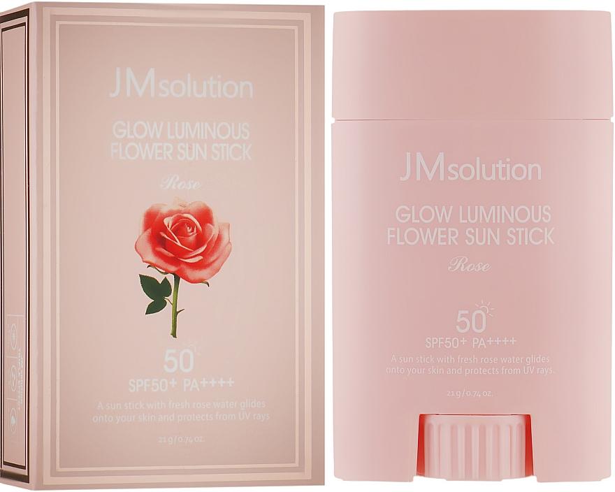 Солнцезащитный стик для лица с розовой водой - JMsolution Glow Luminous Flower Sun Stick Rose SPF50+ PA++++