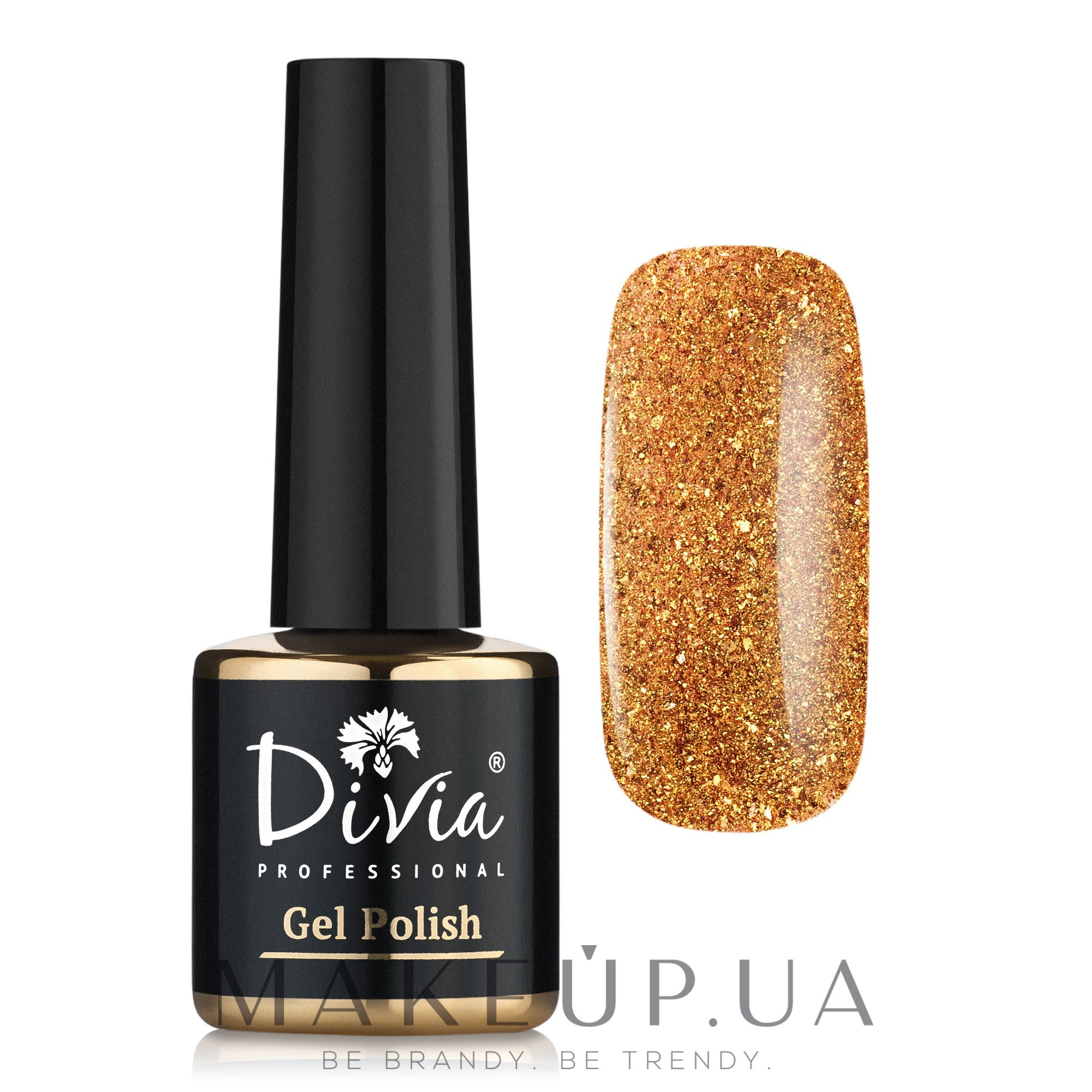 Гель-лак с блестками - Divia Brilliant Gel Polish — фото 301 - Золотой Металлик