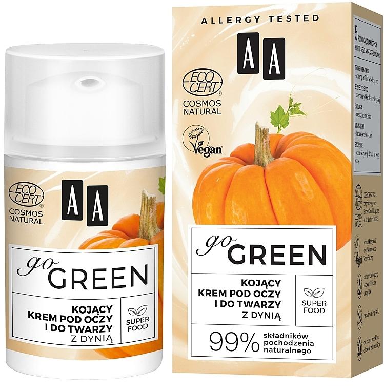 Успокаивающий крем для кожи вокруг глаз и лица, с маслом тыквы - AA Go Green