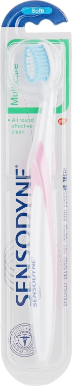Зубная щетка с мягкой щетиной, розово-белая - Sensodyne Multicare Soft