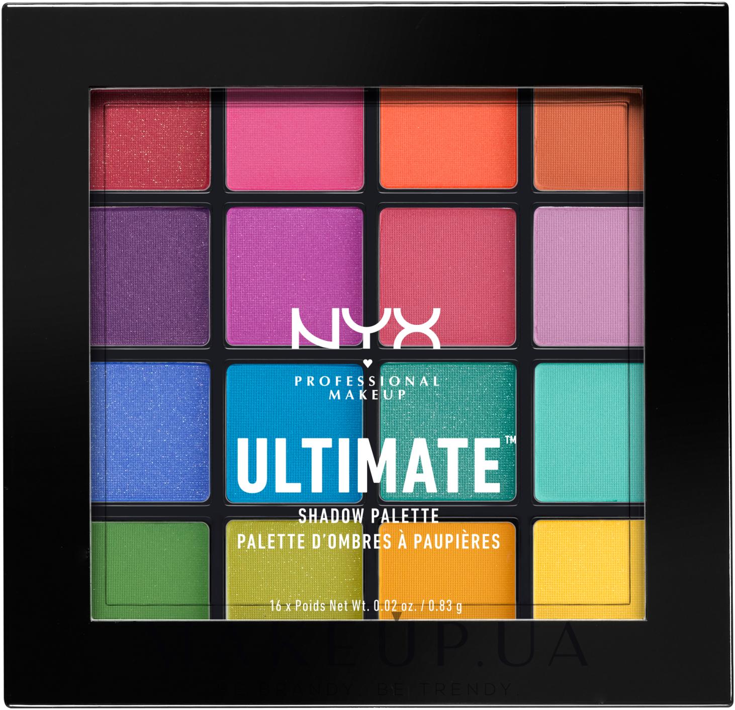 Палетка теней - Nyx Professional Makeup Ultimate Shadow Palette — фото Brights