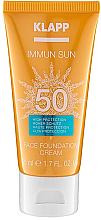 Духи, Парфюмерия, косметика Тональный солнцезащитный крем для лица SPF50 - Klapp Immun Sun Face Foundation Cream SPF50