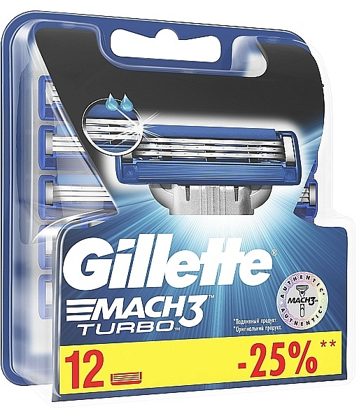 Сменные кассеты для бритья, 12 шт. - Gillette Mach3 Turbo