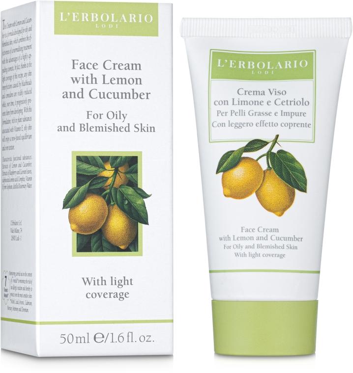 Крем с лимоном и огурцом с легким эффектом крем-пудры - L'Erbolario Crema Viso Al Limone e al Cetriolo