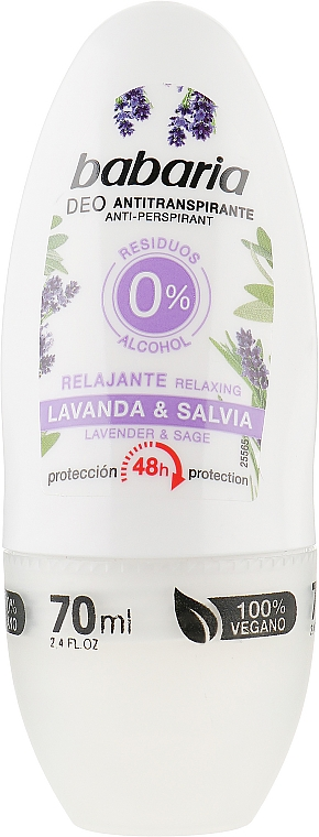 Роликовый дезодорант - Babaria Relaxing Lavender And Sage Deodorant Roll-on